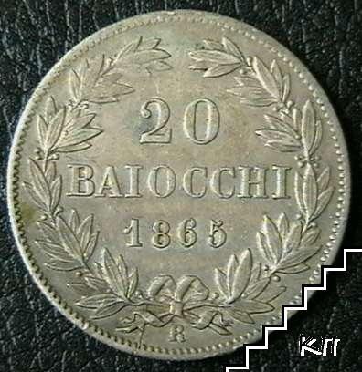 20 байочи / 1865 / Ватикан