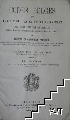 Codes belges et lois usuelles en vigueur en Belgique
