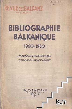 Bibliographie Balkanique 1920-1930