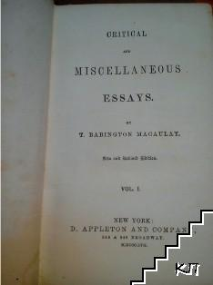 Critical and Miscellaneous Essays. Vol. 1