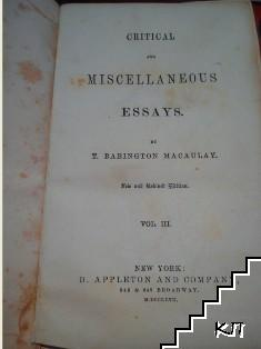 Critical and Miscellaneous Essays. Vol. 3