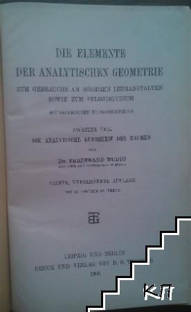 Die elemente der analytischen geometrie