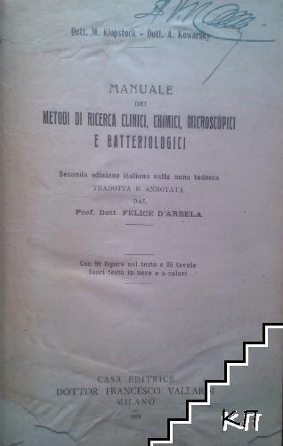 Manuale dei metodi di ricerca clinici, chimici, microscopio batteriplogici