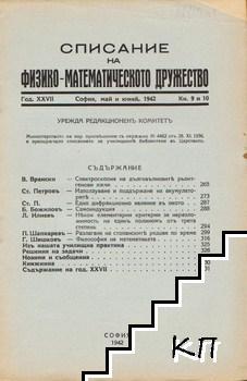 Списание на Физико-математическото дружество. Кн. 9-10 / 1942
