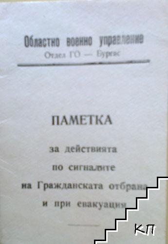 Паметка за действията по сигналите на гражданската отбрана и при евакуация