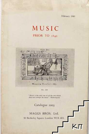 Music prior to 1840. Catalogue 1003