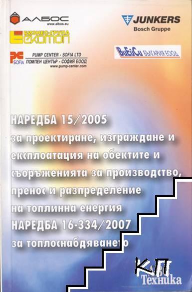 Наредба 15/ 2005 за проектиране, изграждане и експлоатация на обектите и съоръженията за производство, пренос и разпределение на топлинна енергия. Наредба 16-334/ 2007 за топлоснабдяването