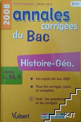 Annales corrigés du BAC 2008. Histoire, Géographie