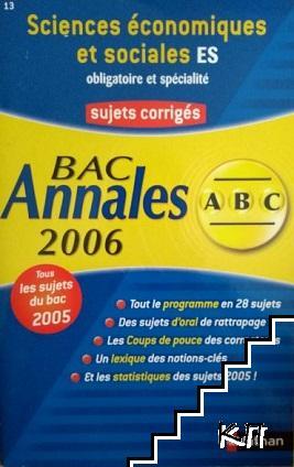 Bac Annales 2006. Sujets corrigés