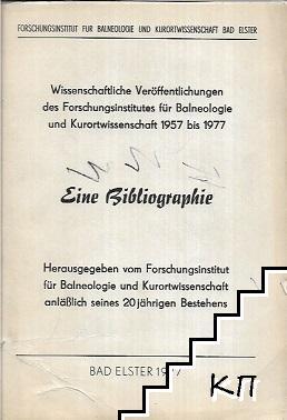 Wissenschaftliche Veröffentlichungen des forschungsinstitutes für balneologie und kurortwissenschaft 1957 bis 1977