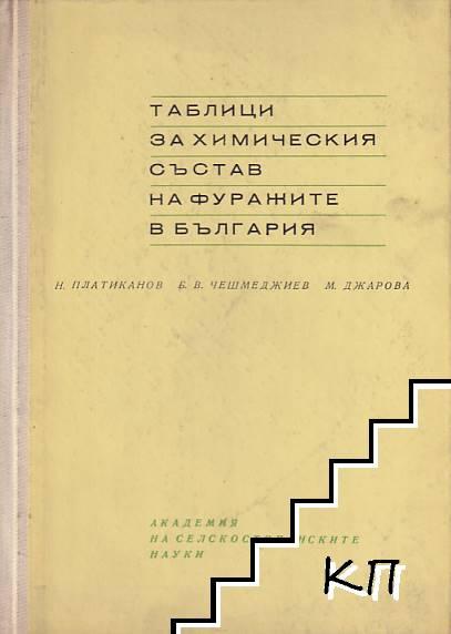 Таблици за химическия състав на фуражите в България / Таблици за състава, смилаемостта и енергетичната хранителност на фуражите в България
