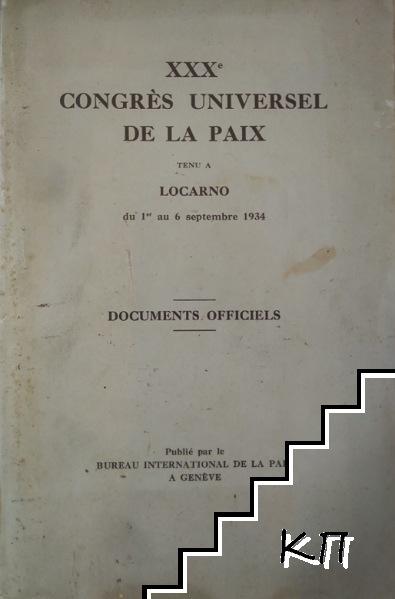 XXX congrès universel de la paix tenu a Locarno du 1-er au 6 septembre 1934