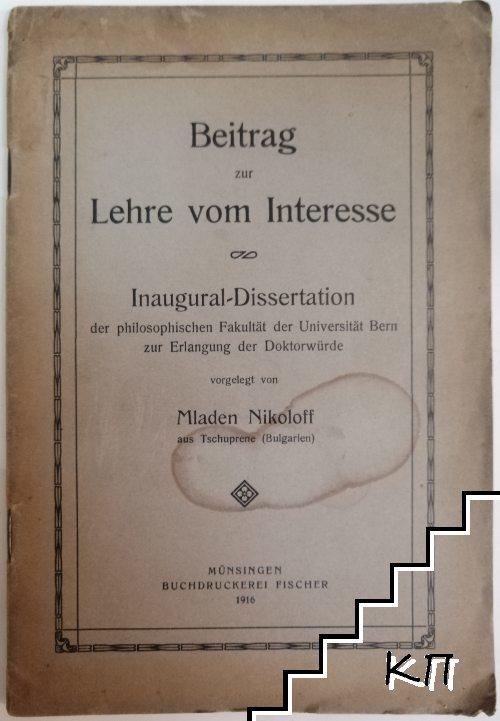 Beitrag zur Lehre vom Interesse