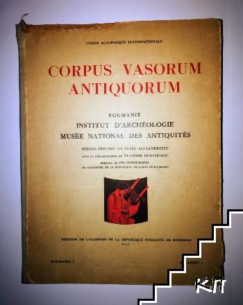 Corpus vasorum antiquorum Roumanie Institut D'Archeologie