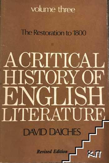 A critical history of english literature. Vol. 3