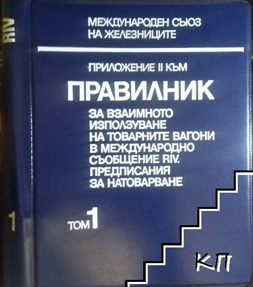 Приложение II към правилник за взаимното използване на товарните вагони в международното съобщение RIV. Том 1: Предписания за натоварване